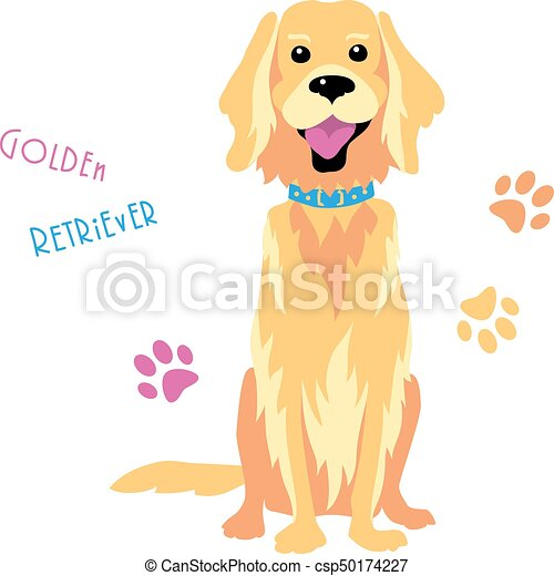 Vector sketch funny Golden Retriever dog sitting - csp50174227