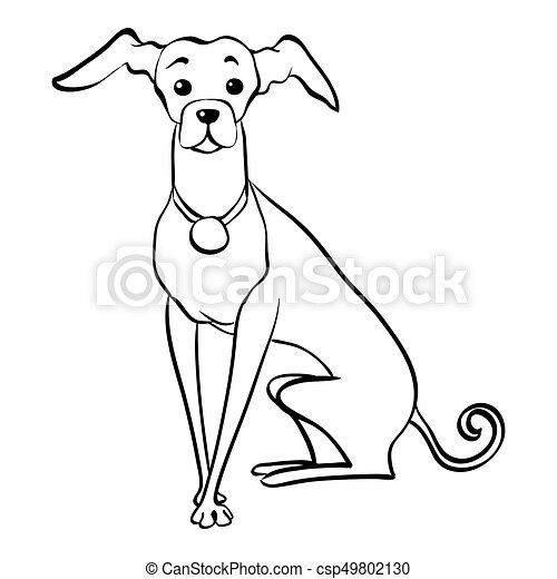 Vector sketch funny Italian Greyhound dog sitting - csp49802130