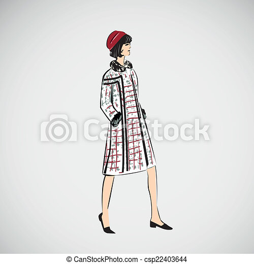 Vector sketch girls in fashion clothes eps - csp22403644