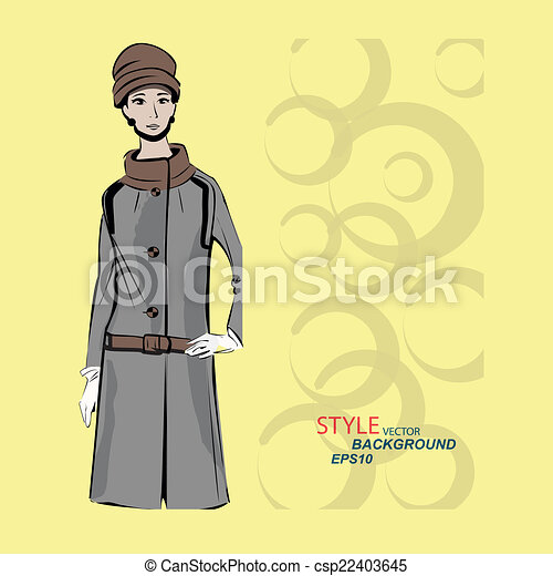 Vector sketch girls in fashion clothes eps - csp22403645