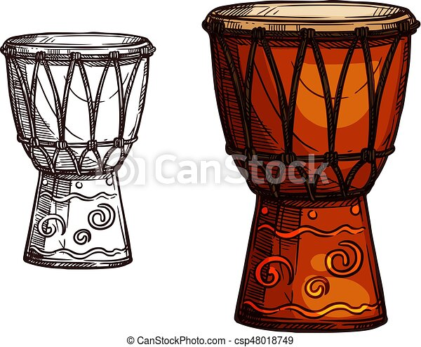 vector sketch icon of drum musical instrument drum musical