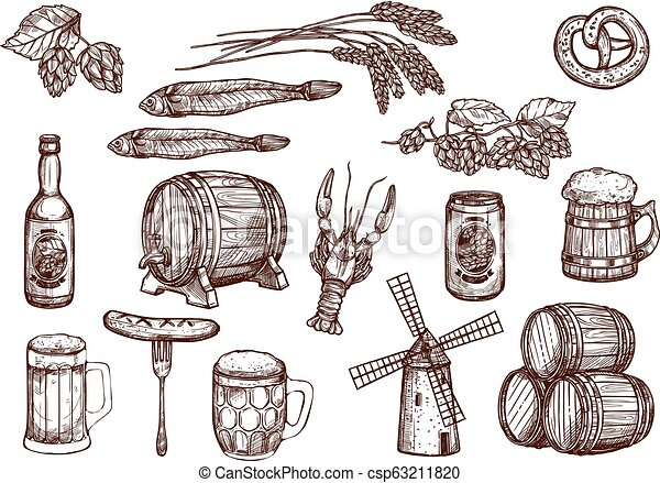 Vector sketch icons of beer snacks and brewery - csp63211820