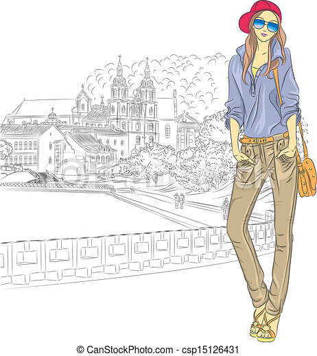 Vector sketch of a fashion stylish girl in the old city - csp15126431