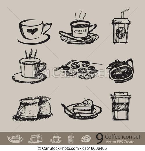 vector sketch of accessory coffee - csp16606485