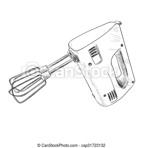 Vector Sketch Of Electric Mixer Hand Draw Illustration