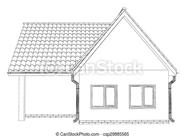 Vector sketch of the cottage with a roof. - csp29885565
