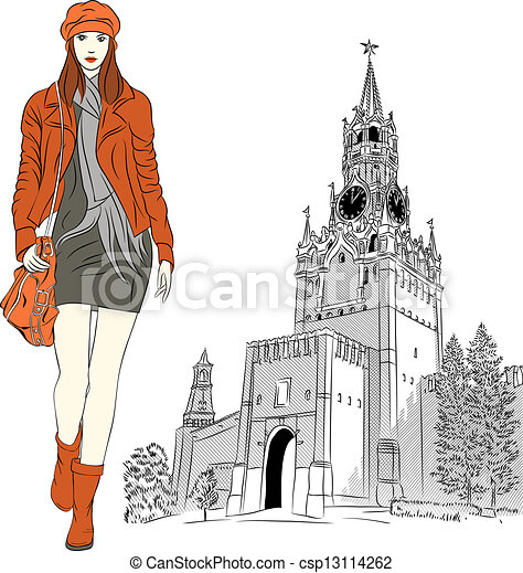 Vector sketch of the lovely fashion girl in Moscow - csp13114262