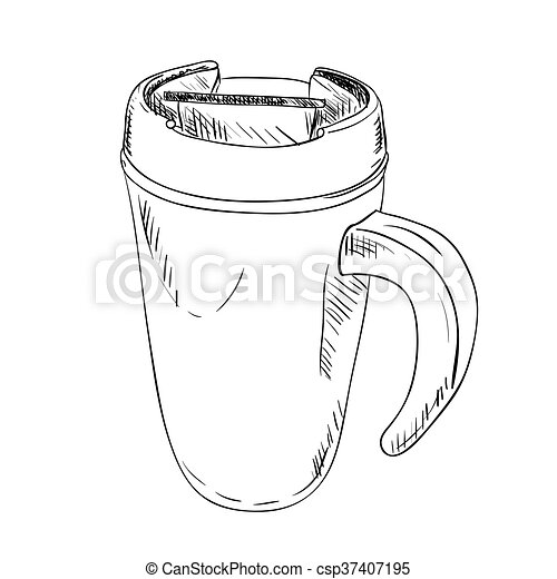 Vector sketch of thermo cup with handle. hand draw... eps vectors ...