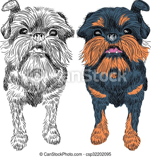vector sketch red dog Brussels Griffon breed  - csp32202095