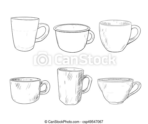 Vector sketch set of cups isolated on white background. hand... clip ...