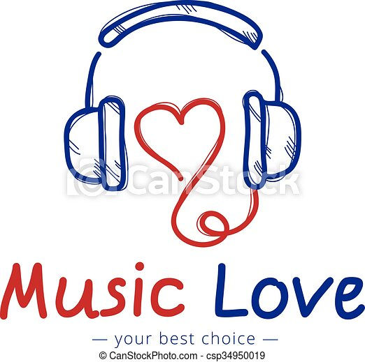 Vector Sketch Style Music Store Logo. Headphones And Heart... Vector Clip Art - Search ...