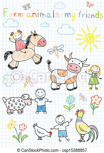Vector sketches happy children's and farm animals - csp15388857