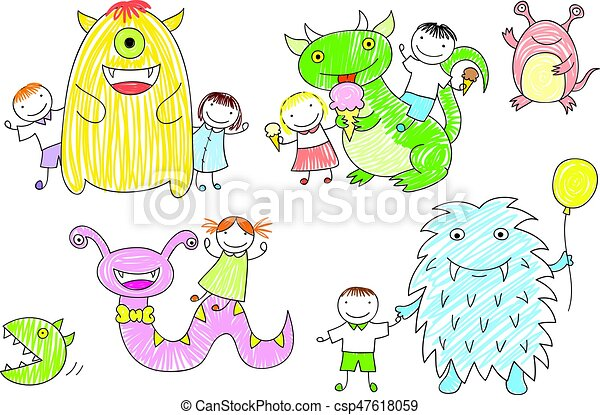 Vector Sketches With Children And Cute Monsters Vector Sketches