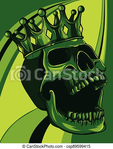 vector skull with crown on colored background - csp89599415