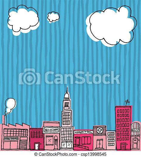 Vector Skyline hand drawn / Cartoon city or Neighborhood - csp13998545