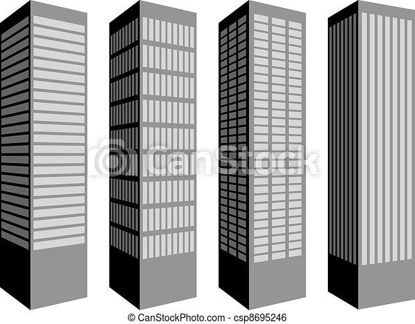 vector skyscraper symbols - csp8695246