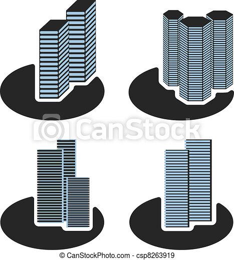 Vector skyscraper symbols - csp8263919