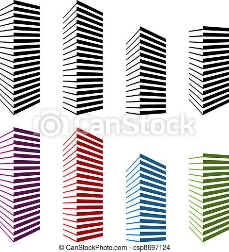 vector skyscraper symbols - csp8697124