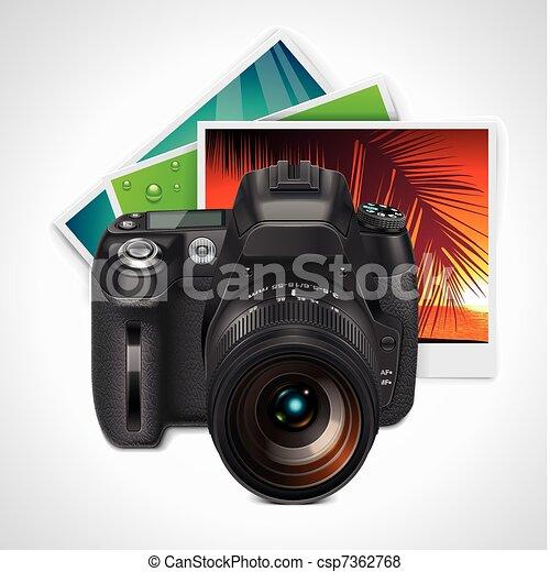 Vector SLR camera and photos  - csp7362768