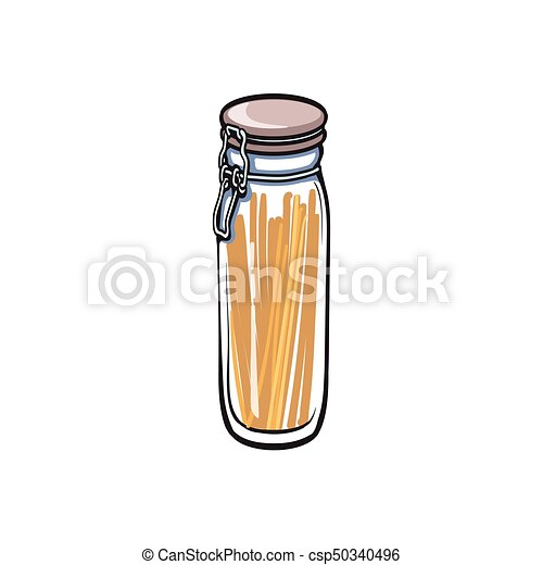 vector small glass jar with swing top lid sketch - csp50340496