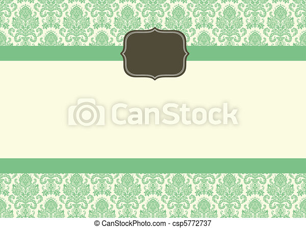 Vector Small Ornate Frame and Damask Background - csp5772737