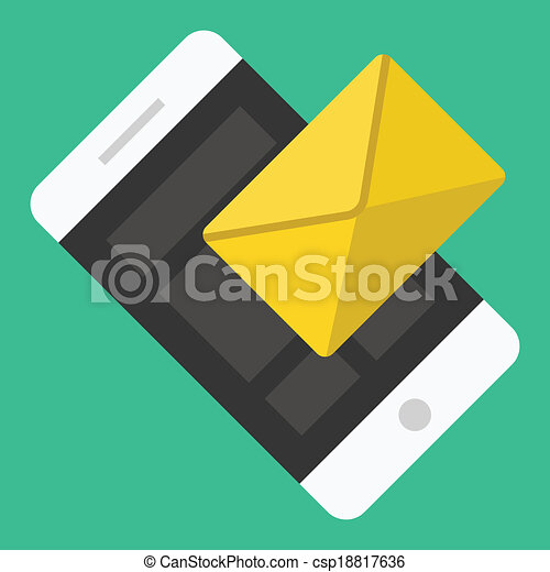Vector Smartphone Email or SMS Icon - csp18817636