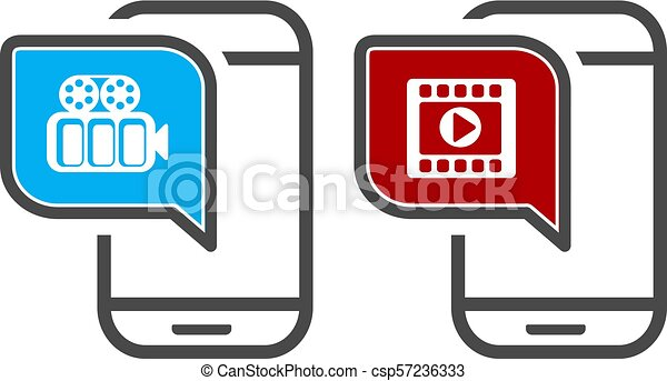 Vector smartphone with video player  App icons for video playback or  streaming  Mobile streaming technologies
