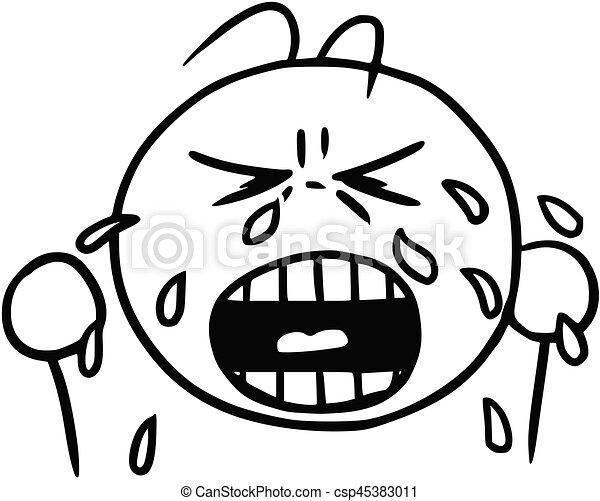 vector smiley cartoon of crying face tears and cry cartoon vector rh canstockphoto com cartoon image crying face cartoon crying face meme