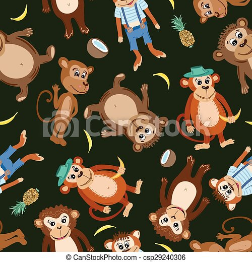 Vector Smiling Monkey Texture  - csp29240306