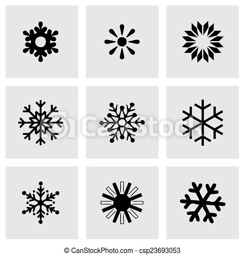 vector snowflake icon set on grey background