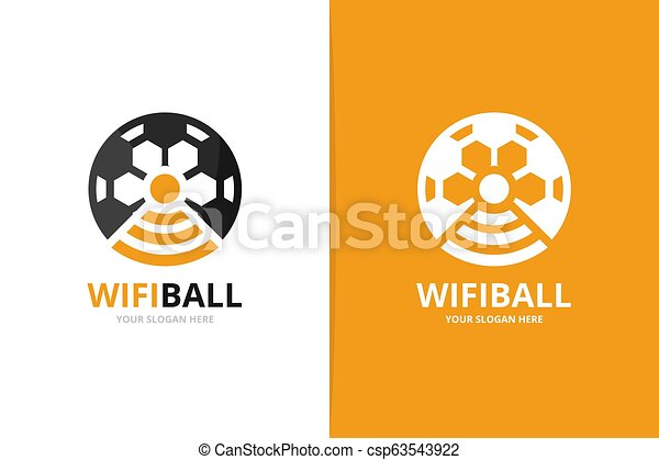 Vector soccer and wifi logo combination. Ball and signal symbol or icon. Unique football and radio, internet logotype design template. - csp63543922