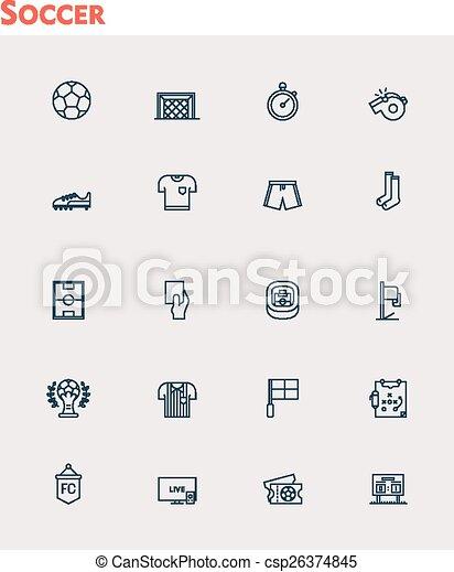 Vector soccer icon set - csp26374845