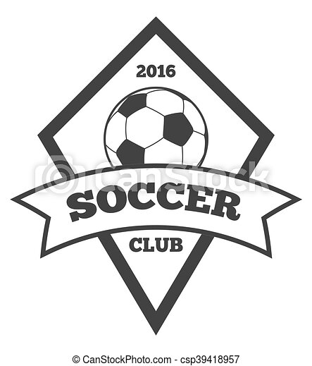 vector soccer logo template emblem in black isolated white vector