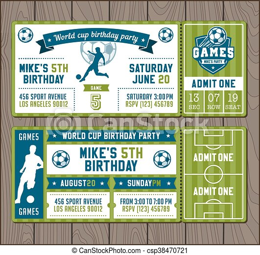 Vector Soccer Party invites - csp38470721