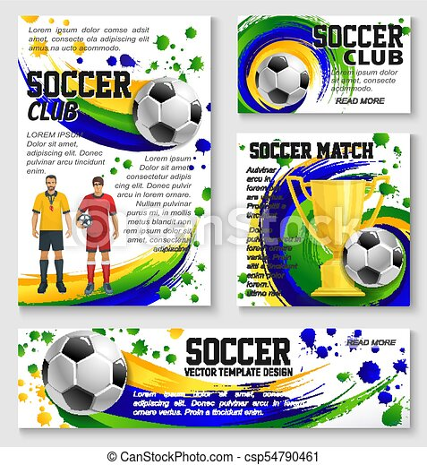 Vector Soccer Team Football Club Posters Soccer Club Or Football Sport Team Posters And Banners Design Templates For College