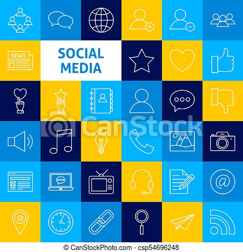 Vector Social Media Line Icons Thin Outline Blog And Network