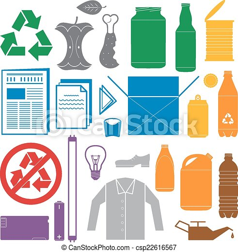 vector solid colors recycling and various waste color icons - csp22616567