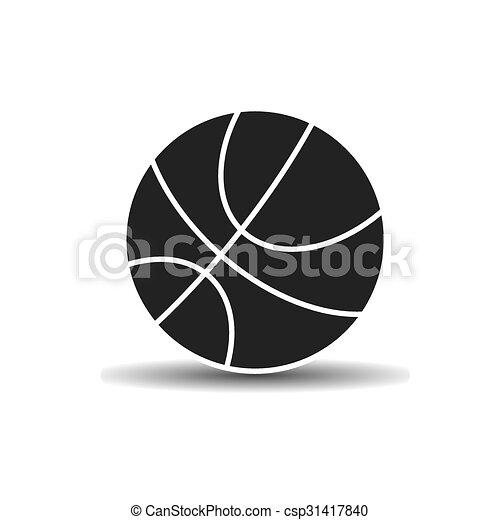 Vector, sombra, pelota baloncesto, icono. Baloncesto, luz, pelota ...