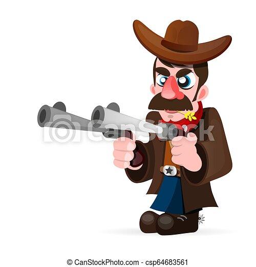 Vaquero con pistola e ilustración vectorial del sombrero - csp64683561