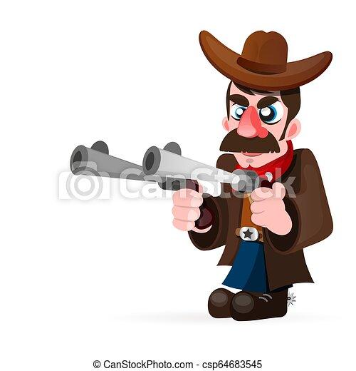 Vaquero con pistola e ilustración vectorial del sombrero - csp64683545