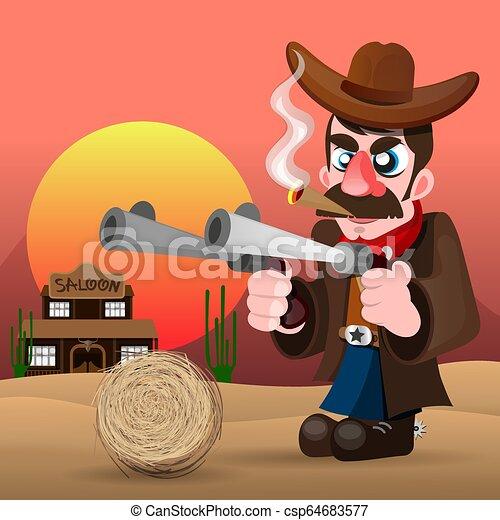 Vaquero con pistola e ilustración vectorial del sombrero - csp64683577