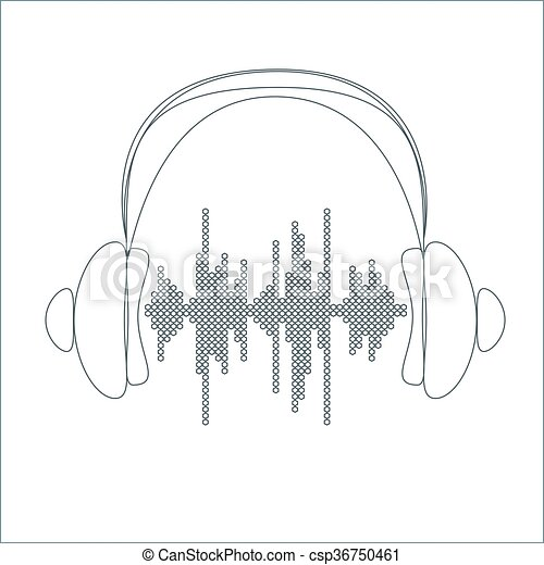 Vector sound wave with headphones. - csp36750461