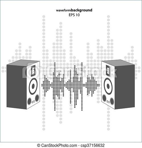 Vector sound wave with speakers. - csp37156632