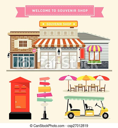 Travel shop concept. Travel shopping conceptual composition with hand drawn  style bag full of souvenirs photographs and