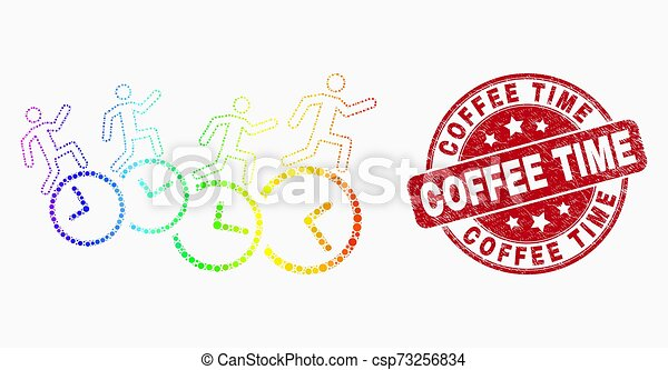 Vector Spectrum Pixelated People Run Over Clocks Icon and Distress Coffee Time Watermark - csp73256834