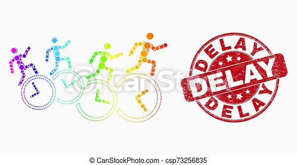 Vector Spectrum Pixelated People Run Over Clocks Icon and Distress Delay Stamp Seal - csp73256835