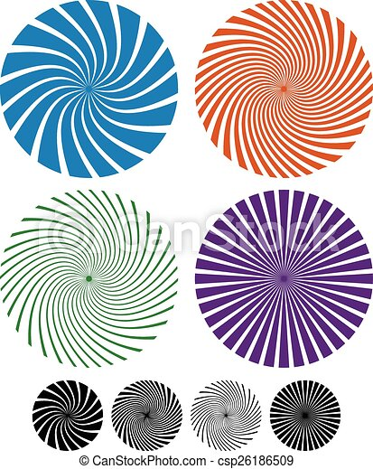 Vector. Spiral, spire set. Concept for whirl, whirlpool, vortex. Rotating shapes, torsion. - csp26186509