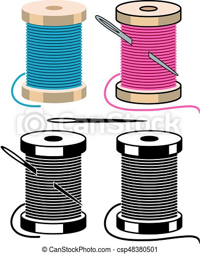 Vector spool icons with sewing needle and thread isolated on white ...