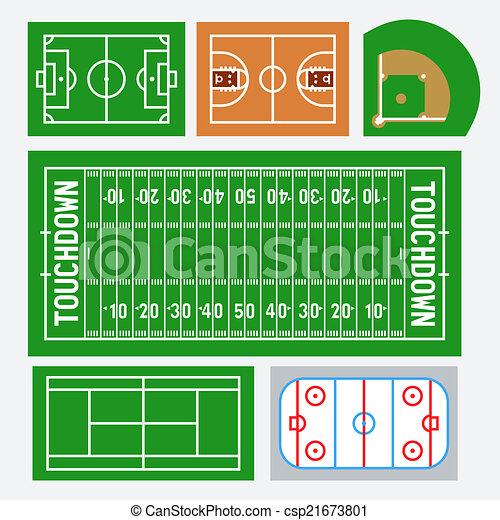 Vector sport fields set: soccer, basketball, baseball, american football, tennis, hockey - csp21673801