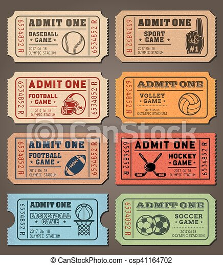vector sport tickets templates collection of eight vector sport